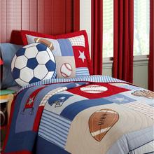 CHAUSUB Kids Patchwork Quilt Set 2PC Handmade Cotton Quilts Bed Sheet Sports Bed Cover Pillow Shams Coverlet Set Boys Bedding