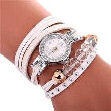7cfb0fe1474 Relógios Para As Mulheres De Couro Cadeia de Strass Rebite Pequeno Mostrador  em Ouro Relógio Das Mulheres Relógio de Quartzo Pul.
