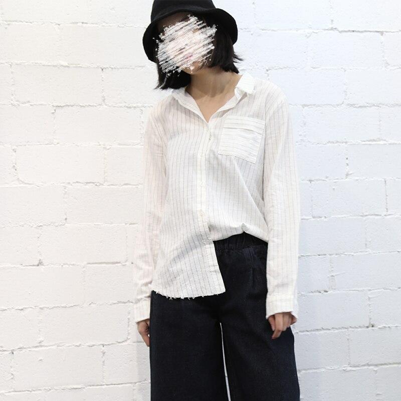 100 moben vertical stripe cotton long sleeve shirt female top basic sc