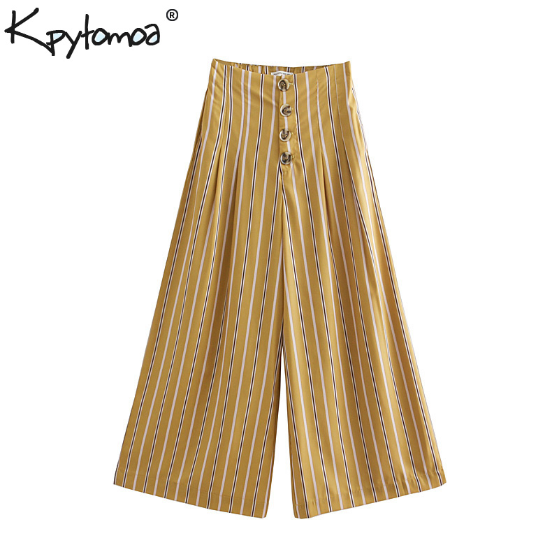 Vintage Chic Striped Pleated   Wide     Leg     Pants   Women 2018 Fashion Clothing Buttons Fly Loose Ankle Trousers Casual Pantalon Mujer