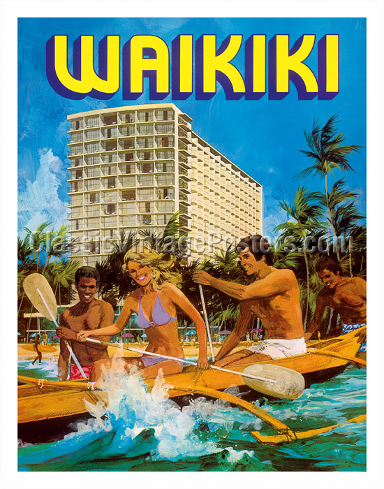 Art Holiday in Hawaii Waikiki Travel Posters <font><b>Retro</b></font> Vintage Kraft Poster Canvas Painting <font><b>Wall</b></font> <font><b>Sticker</b></font> Home Decoration Gift image