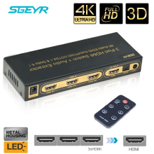 STEYR HDMI 1.4 Switch Switcher Box Selector 3 In 1 Out Audio Extractor Splitter with Optical SPDIF, ,Remote Control