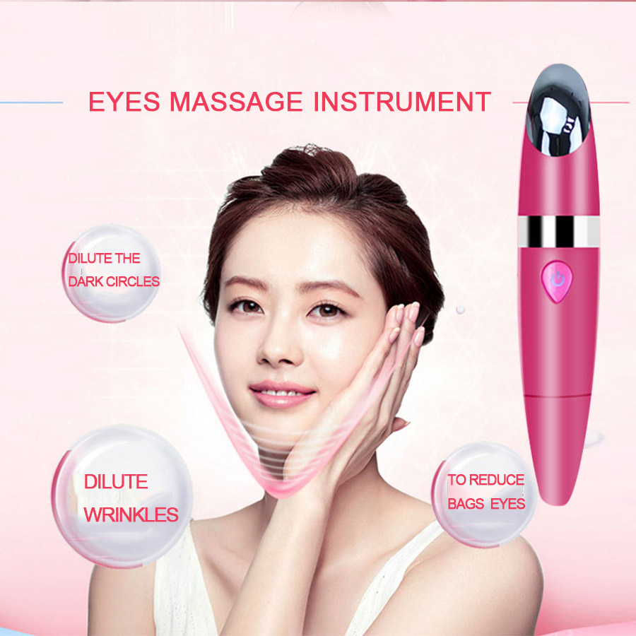 Electric Eye massage stick Vibration Ion skin firming anti-wrinkle eliminate black eye bags beauty device USB rechargeable healthsweet 24k gold mini massage device electric eye massager facial vibration thin face magic stick anti bag pouch wrinkle pen