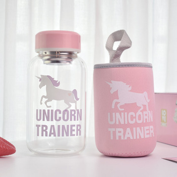 600ml Unicorn Glass Water Bottle