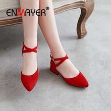 ENMAYER 2019 New Arrival  Mary Janes Womens Shoes Heels Square Heel Kid Suede Pointed Toe Casual Solid Size 34-43 LY1842
