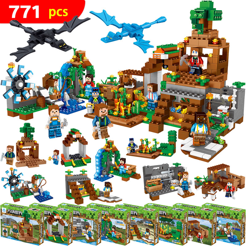 771pcs 8 in1 Minecrafted Manor Estate House My World model Building Blocks Bricks set Compatible Legoed boys toy for children