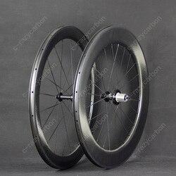 Darmowa wysyłka koła dołek aerodynamiczny przód 58 tył 80 2 lata gwarancji TT Clincher szosowe koło karbonowe 700C szosowe w Koła roweru od Sport i rozrywka na
