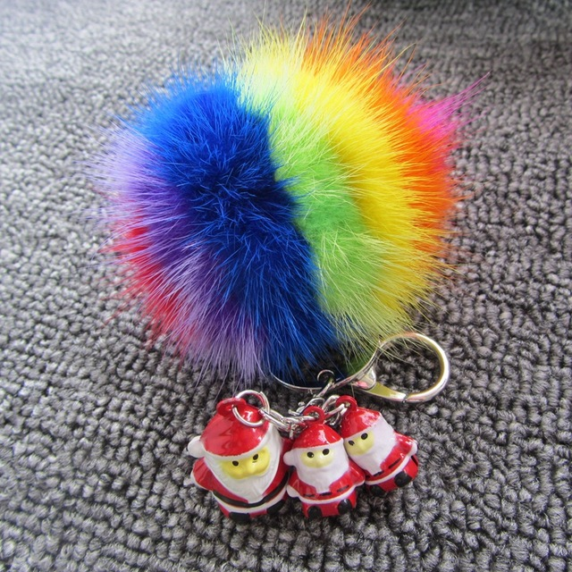 Christmas Gift 8cm Mink Fur Ball Pompom Keychain Sunflower Santa Claus Bells Car Key Chain Pendant Gift  Handbags Accessories