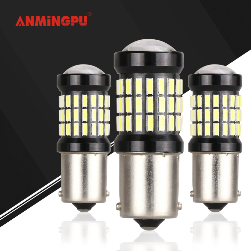 ANMINGPU 2x Canbus No Error Car Signal Lamp 1156 P21W Led BA15S BAU15S PY21W Led Turn Signal Reverse Light Brake Light White R5W 1piece no polarity 10 30v p21w 12w cob chips led 1156 382 ba15s canbus alta potencia drl luz reversa reino unido 720lm