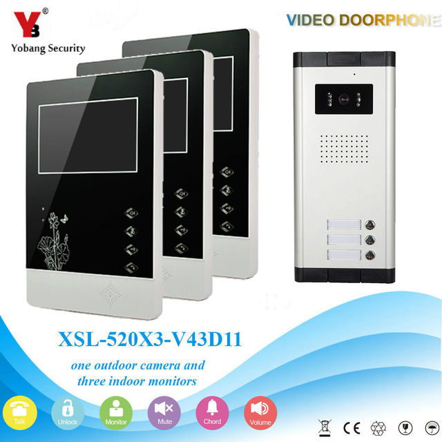 Yobangsecurity Wired 43 Inch Monitor Video Door Bell Phone