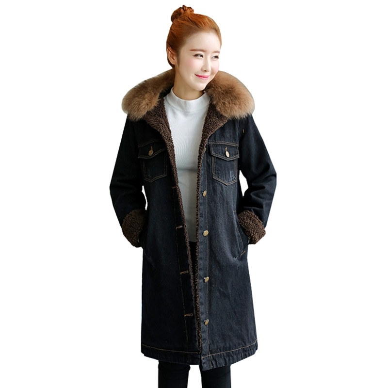 Manteau Velours Chaud Cowboy Taille De Jaqueta Plus Col Photo 2018new Veste Jeans Épaisse Laine La Hiver Femmes Coatfemale Agneaux Fourrure Denim Color Vestes Zx8HTTnwqa