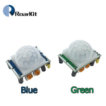 Módulo Detector de Sensor de movimiento PIR infrarrojo piroeléctrico IR con ajuste de HC-SR501 verde para arduino