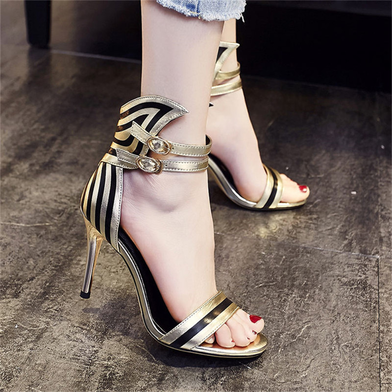 ФОТО 2016 New Fashion High Heeled Thin Heels Open Toe Lace Up Heels Sandals Shoes Genuine Leather Women Pumps Shoes Sexy Pumps Heels