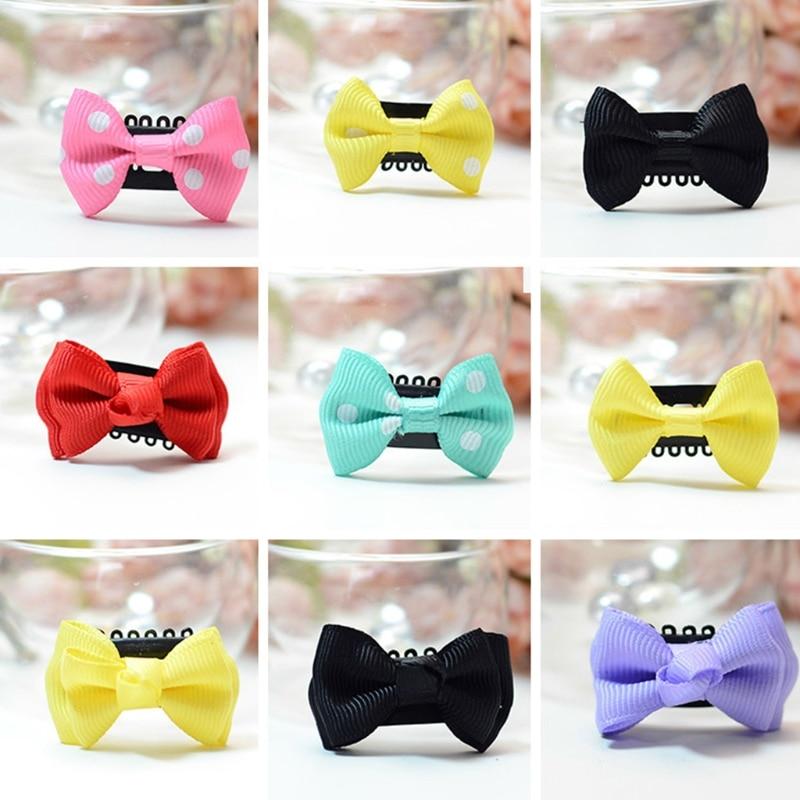 10 Pcs Baby Girl's Ribbon Hair Bow Mini Latch Hair Clips Safe Boutique Barrettes  'lrz