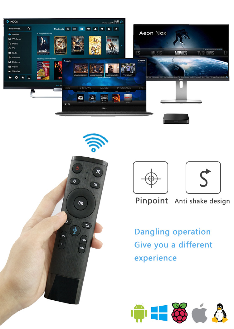 AVATTO Q5 Voice Control Fly Air Mouse For Gyro Sensing Game,2 4GHz Wireless  Microphone Remote Control For Android TV Box,PC
