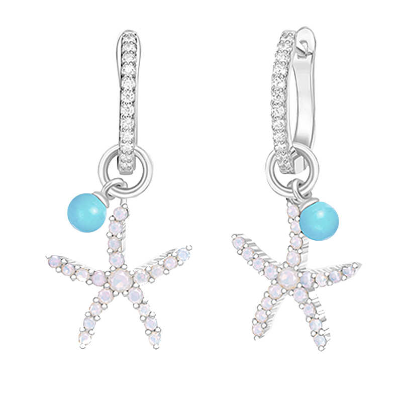 Sinya starfish подвесные сережки из стерлингового серебра установка синий CZ или Белый Турмалин добавить бирюзовые Висячие