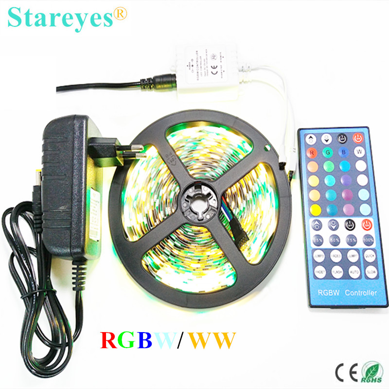 1 Ställ RGBW RGBWW SMD 5050 5M Icke Vattentät LED Striplampa Sträng RGB W Tape + 40-tangent Remoter Controller + 3A Strömadapter