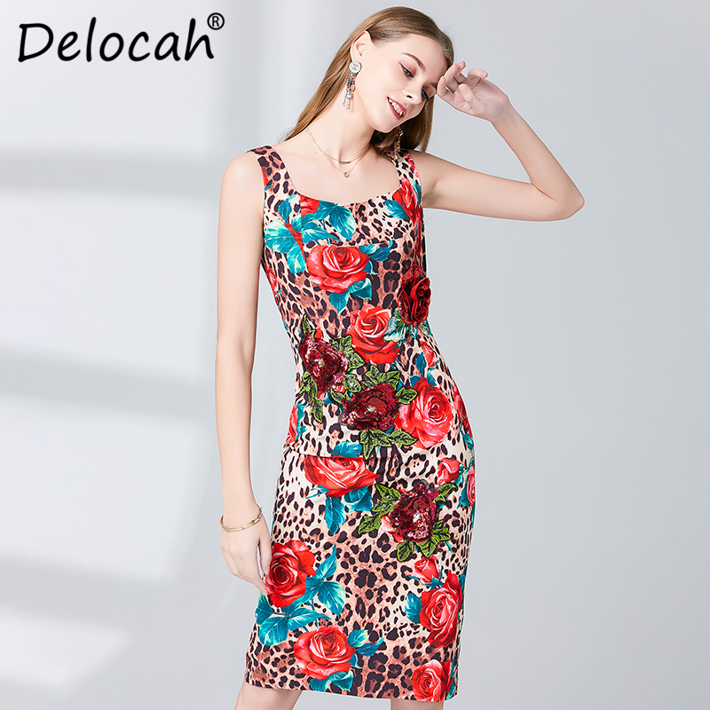 Delocah Women Spring Summer Dress Runway Fashion Designer Sleeveless Gorgeous Appliques Rose Flower Printed Slim Ladys Dresses in Dresses from Women 39 s Clothing