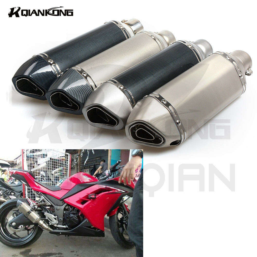Motorcycle Exhaust Pipe Muffler For KAWASAKI NINJA 250 300 R Z750 Z800 Z1000 ER6N ER6F ZX10R Z900 Z650 2005 2006 2007 2008 2009 r qiankong 36 51mm carbon fiber modified exhaust pipe muffler for kawasaki z250 z650 z750 z800 z900 z1000 sx ex250 300 zx 6r 10r