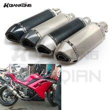Universal 36 51mm Motorcycle Exhaust Pipe akrapovic Muffler For KAWASAKI NINJA 300 Z750 ER6N ER6F ZX10R
