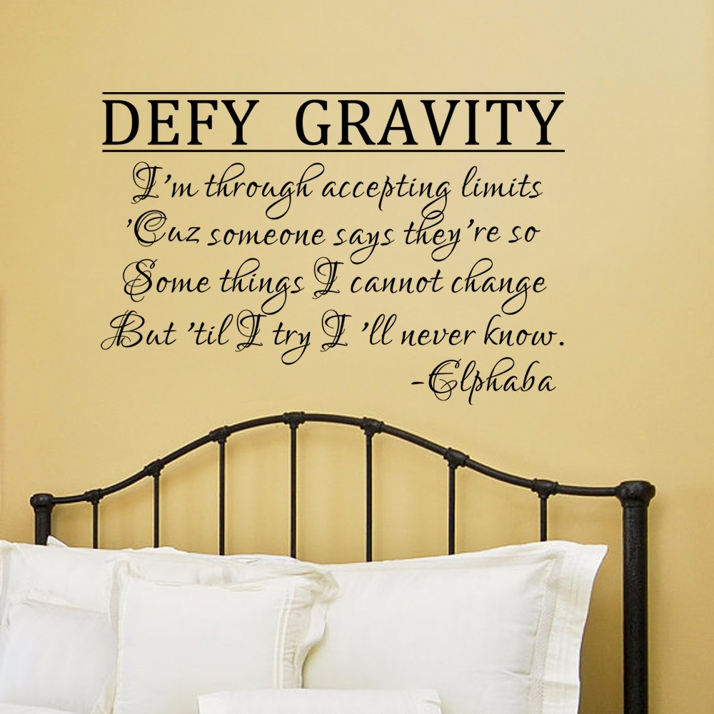 Defy Gravity Elphaba Wall Decal Wicked the Musical Wall Art Quote ...