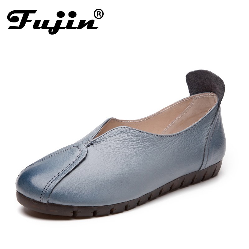 Fujin 2019 Spring Autumn Women Genuine Leather Loafers Fashion flats grey white black Shoes Woman Slip