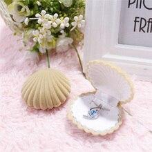 Shell Shape Lovely Velvet Earring Ring Jewelry Box