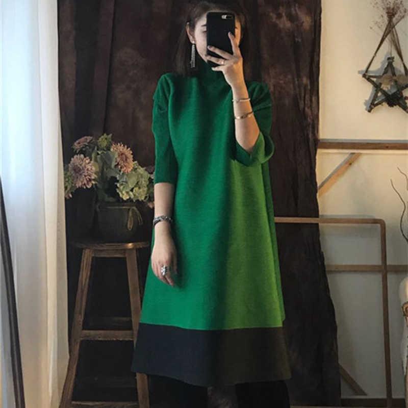 LANMREM 2019 Новое весеннее модное черное плиссированное платье с высоким воротом мозаичное яркое цветное женское платье с рукавом три четверти SA568