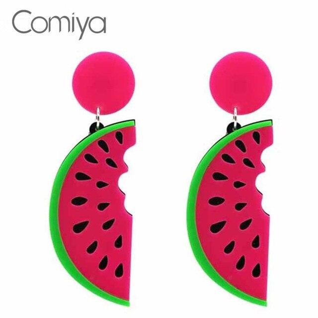 Comiya doces do estilo da forma do punk verão big acrílico melancia forma fruta fêmea queda brincos para as mulheres jóias brinco longo