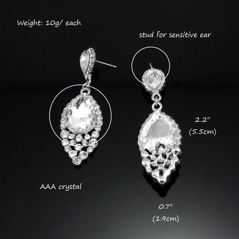 Luxury Crystal Dangle Earrings for Girls White Rhinestone Tear ...