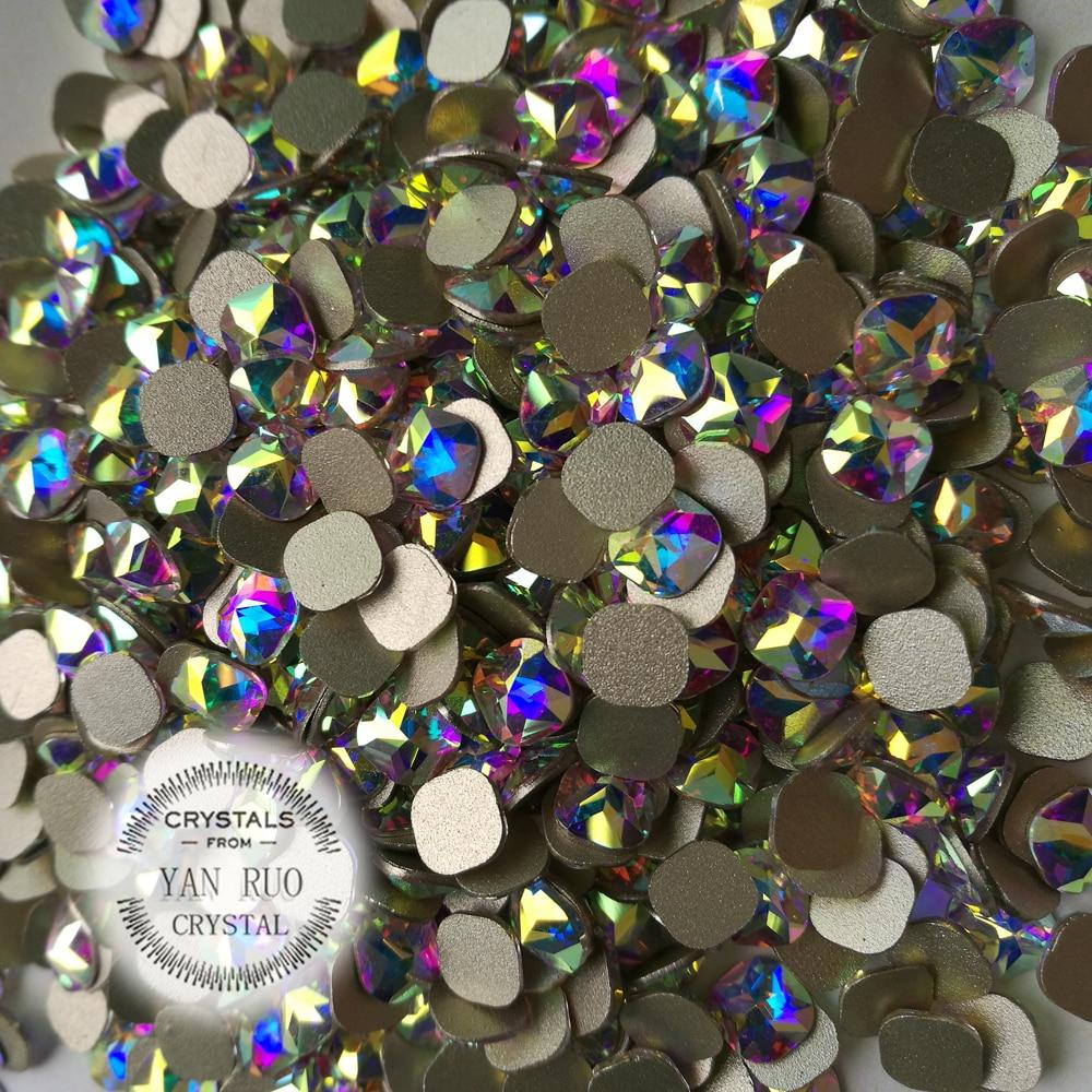 YANRUO 72 stks 6mm Crystal AB Regenboog Platte achterkant Vierkante - Nagel kunst - Foto 5
