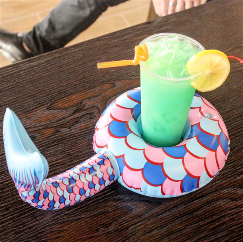 Cyuan 1pcs Mermaid Theme Silicone Dining Table Pool Party Cup Holder Clastic Coasters Anti-skid Ceramic Mug Mermaid Coffee Cup