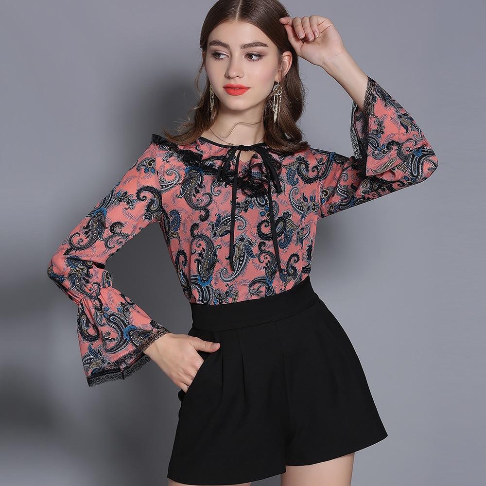 100% soie Blouse chemise femmes col en v Vintage imprimé Flare manches bleu rose Blouse dames décontracté chemise Blusas Femininas 2019 printemps - 5