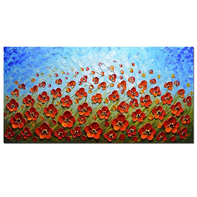 Aliexpress.com : Buy 3D Red Flowers Artwork 100% Hand Painted Oil ...