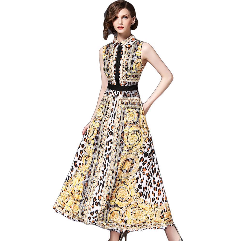Tuniek Women Leopard Chiffon Dress Shirt Bohemian Boho Long Summer