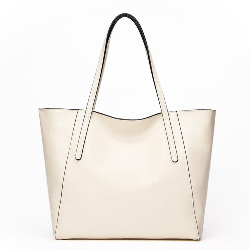 Marque Designer de luxe en cuir véritable sacs pour femmes 2018 haute qualité en cuir véritable sacs à bandoulière grand fourre tout blanc sacs à provisions-in Sacs à bandoulière from Baggages et sacs    1
