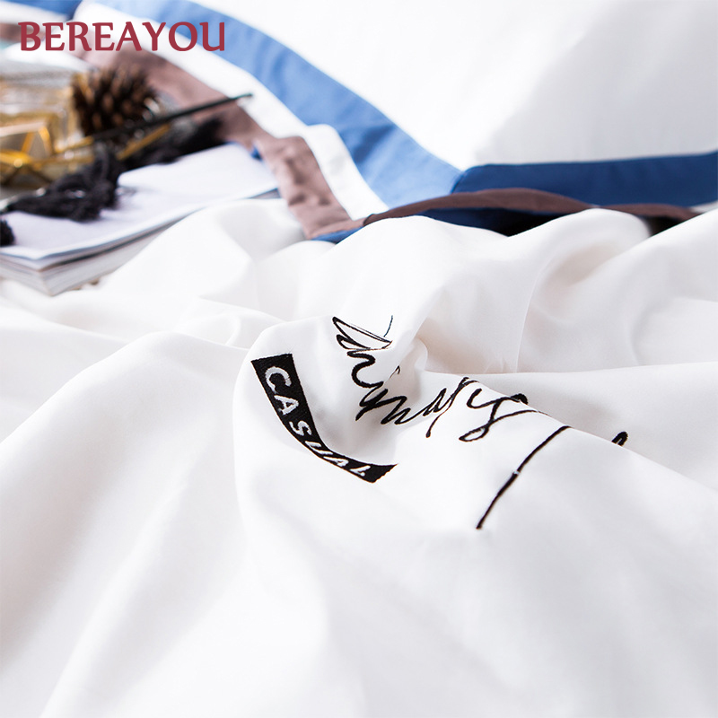 Luxury White Bedding Sets 100 Cotton Satin 60S Hotel Duvet Cover Pillowcase Flat Fitted Bed Sheet Full Queen King Size For Kids in Bedding Sets from Home Garden