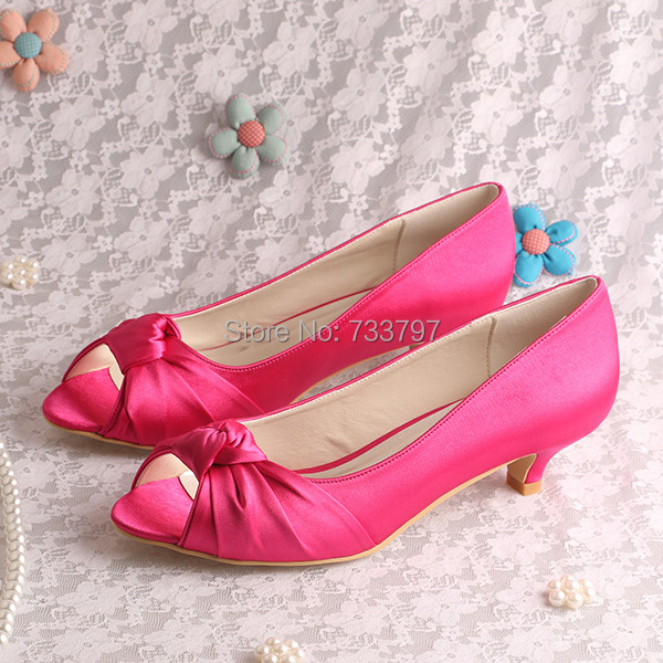 Cerise Pink Shoes Low Heel