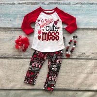 Cotton Valentine S Day Boutique Baby Girls Outfits Kids Clothing Love Aztec Suit Heart Cute Mess