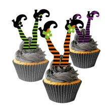Pack of 37 Witch Feet Witchs Boot Shoes Cupcake Toppers and Cupcakes Fun Halloween Party Supplies