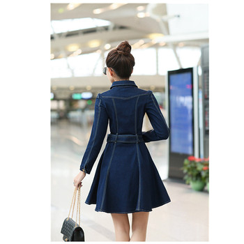 Women Spring Summer Long Sleeve Slim Denim Dresses Female Casual Lapel Solid Color Button Cardigan A Line Jeans Dress Miniskirt 2