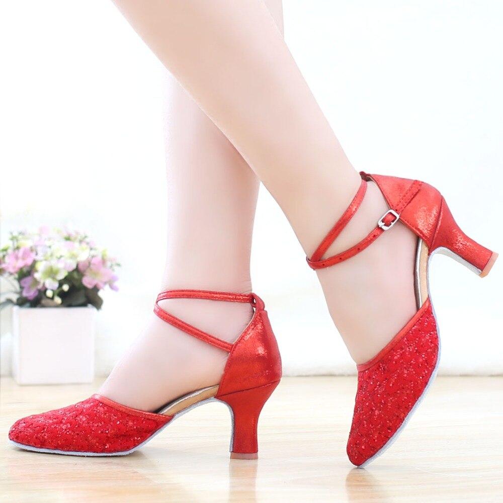 2018 Tumit Tinggi Glitter Wanita Sepatu Dansa Latin wanita Ballroom - Sepatu kets - Foto 4