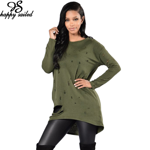 Happy Sailed Women New Arrival 2017 Autumn Shirts Grey Army Green Long Sleeve Hole Style Pullover T-shirt Loose Tops 25961