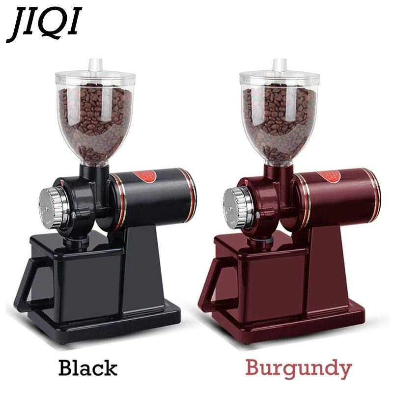 Электрическая кофемолка JIQI, кофемолка в зернах, плоское шлифование заусениц, 220 В/110 В, красный/черный, EU US