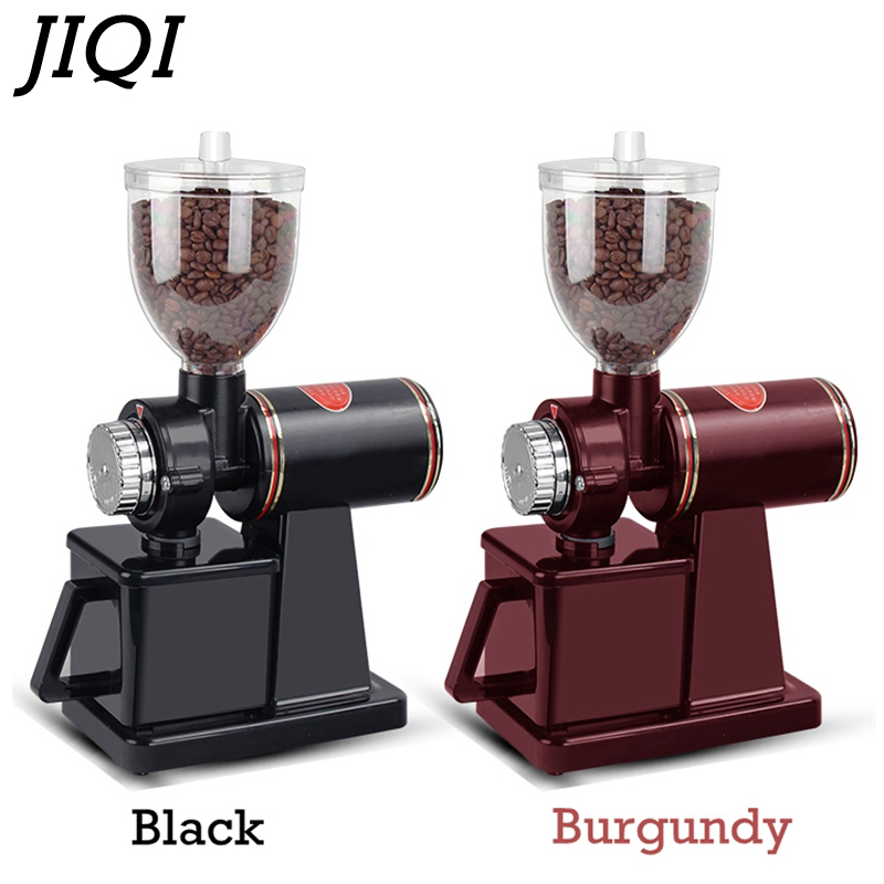 JIQI Electric Coffee Grinder Coffee Mill Bean Grinder Machine Flat Burrs Grinding Machine 220V/110V Red/Black EU US