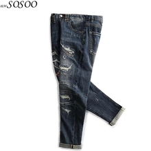 New Men Jeans Fashion Classic Patches Knees Holes High Quality European and American style Men Jeans Pants #TC046