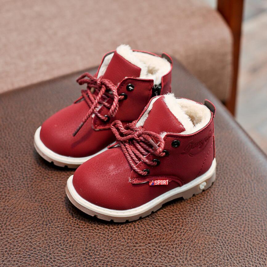 Водонепроницаемый дети теплые сапожки для Обувь для девочек Обувь для мальчиков зимние сапоги брендовые Детские Резиновые ботильоны плюше... ...