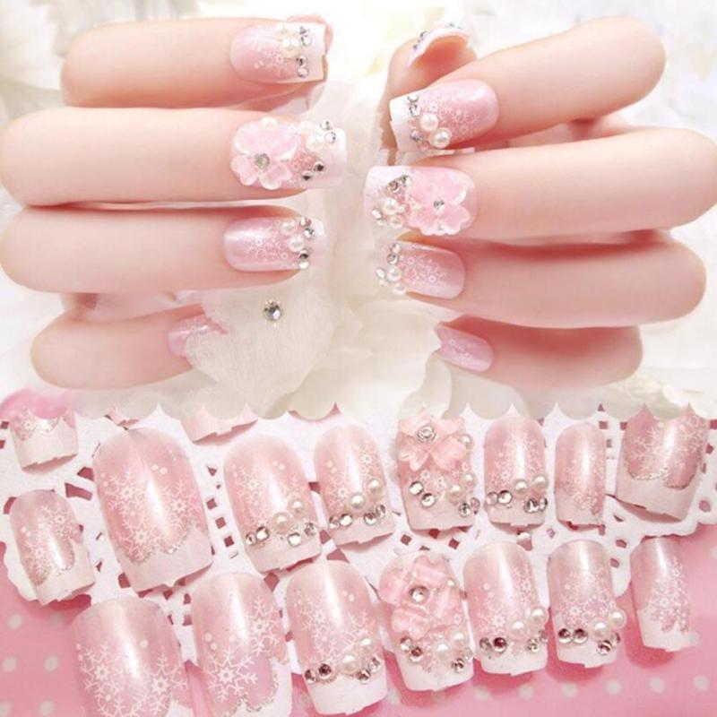 Online Shop 24Pcs Finished Fake Nail Beauty women Shimmer wedding ...