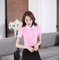 Novelty Pink Short Sleeve Fashion OL Styles 2016 Summer Business Women Blouses Tops Shirts For Office Ladies Clothes Clothing