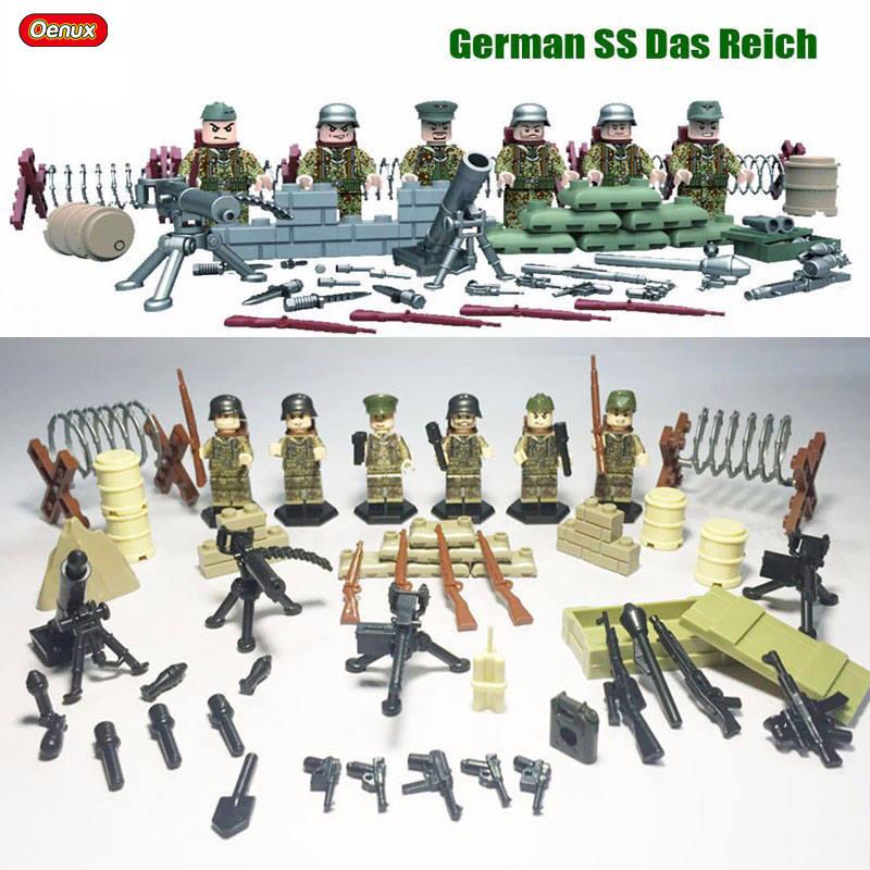 где купить 6PCS World War 2 Series Battle of Kharkov Eastern Front Model Military German Army Soldier Figures Building Blocks Set Kids Toys по лучшей цене